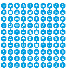 100 mill icons set blue vector