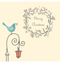 Christmas wreath with bird on the old street light vector image