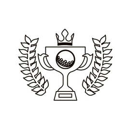 black contour with olive branchs with trophy cup vector image