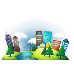 A hill with a river across the tall buildings vector