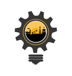 Bulb and gear shape with oil extraction industry vector