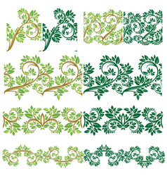 set of floral seamless detailed ornaments borders vector image