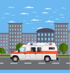 Ambulance car on road in urban landscape vector