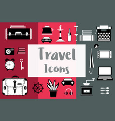 Set of flat travel icons in a flat style with a vector
