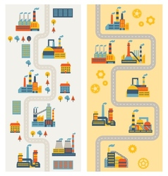 Industrial factory buildings vertical banners vector