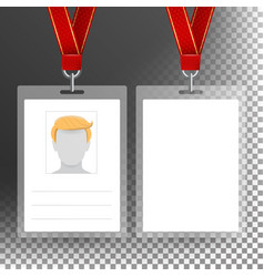 blank badge with ribbon lanyard vector image