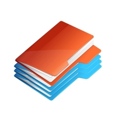 Four folders with paper folder stack vector
