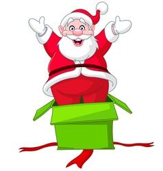 santa jumps from gift box vector image
