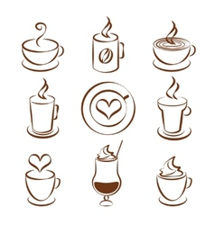 Set of coffee cup symbols vector