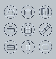 Luggage flat design thin line icons set vector