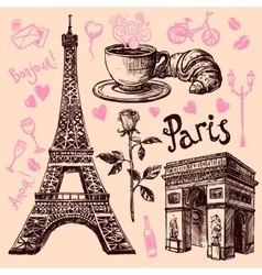 Paris hand drawn symbols set vector