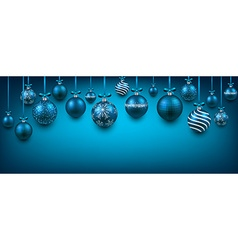 Abstract background with blue christmas balls vector