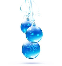 Blue christmas decorations vector