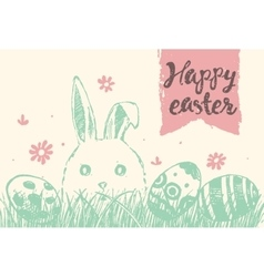 Happy easter greeting card cute bunny eggs vector