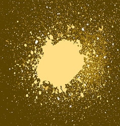 Gold paint splash splatter and blob on golden vector