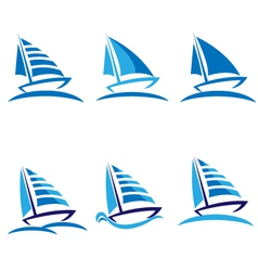 Set of boats logos vector image