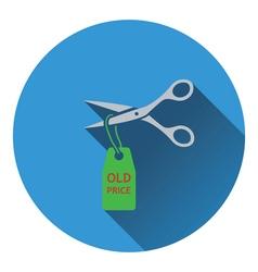Scissors cut old price tag icon vector