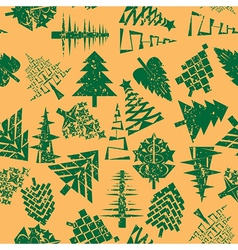 abstract christmas trees pattern vector image vector image