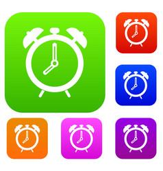 alarm clock set color collection vector image vector image