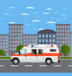 Ambulance car on road in urban landscape vector