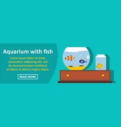 aquarium with fish banner horizontal concept vector image