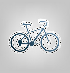 Bicycle bike sign blue icon with outline vector