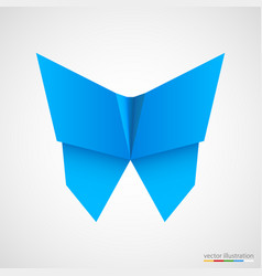 blue origami butterfly on white vector image vector image