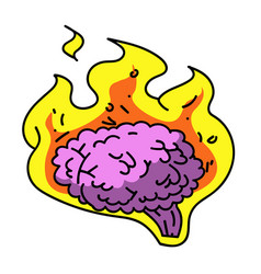 brain on fire cartoon hand drawn image vector image