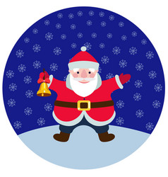 cartoon santa claus with a christmas bell vector image