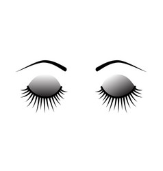 Closed eyes eyelash extensions vector