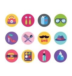 Clothes and fashion icons set shopping symbols vector