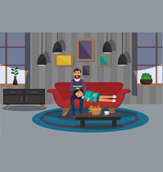 Couple on sofa in room vector