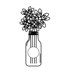 Cristal bottle with flowers isolated icon vector