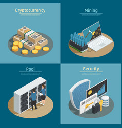 Cryptocurrency isometric compositions vector