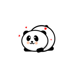 cute panda in love and played vector image vector image