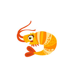 cute shrimp sea creature hand drawn vector image