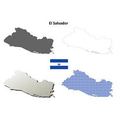 El Salvador outline map set vector image vector image