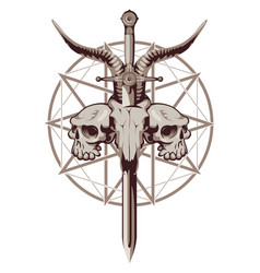 Emblem with skulls sword and pentagram vector