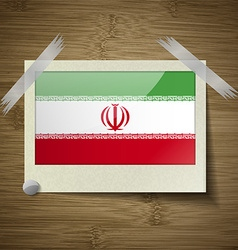 Flags Iran at frame on wooden texture vector image vector image