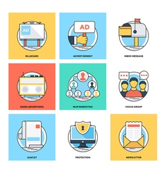 Flat color line design concepts icons 19 vector