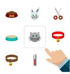 Flat icon animal set of hound necklace dog food vector