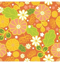Golden flowers seamless pattern background vector image vector image
