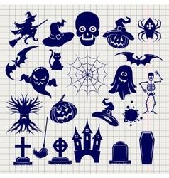 Halloween elements sketch on notebook background vector image vector image