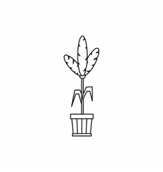 House plant in a pot icon outline style vector