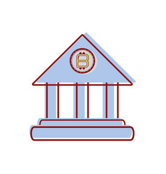Icon bank bitcoin money currency vector