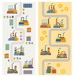 Industrial factory buildings vertical banners vector