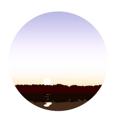 lake at dawn landscape vector image