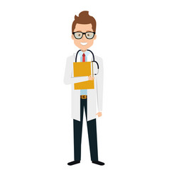 Male doctor with stethoscope avatar character vector