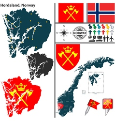 Map of Hordaland vector image vector image