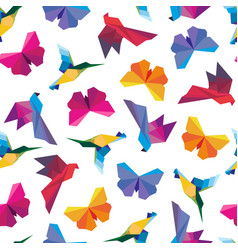 Origami birds seamless vector